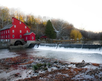 Red Mill Photography.Clinton New Jersey Landscape.Historic Charm.Old Country Decor.Holiday Print.Geese on the Water.Fine Art Photography.