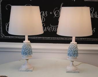 Beautiful Blue Ombre Ceramic Flower Table Lamp Set!  Fantastic Vintage Condition!