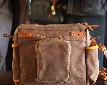 Items similar to waxed canvas and leather fly fishing bag for Fly fishing bag