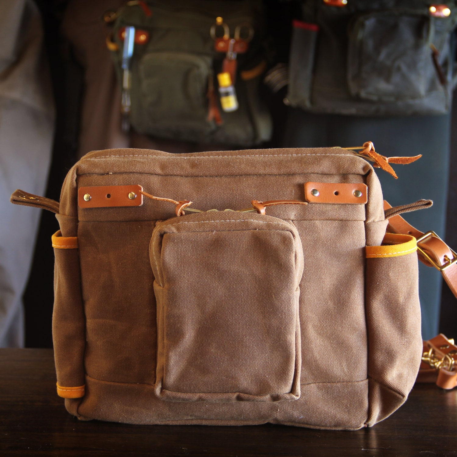 Waxed canvas and leather fly fishing bag standard strap for Fly fishing bag