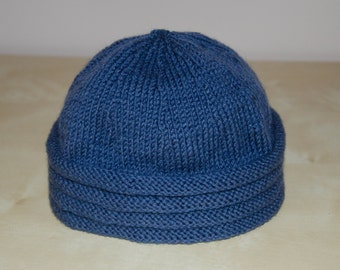 Alpaca Toddler Hat - Hand Knitted Hat - Boy Toddler Clothes - Blue Boys Hat - Hand Knit Hats - Birthday Gift for 1 Year Old Boy
