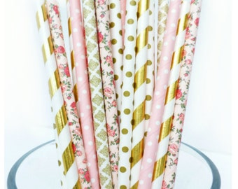 Floral Paper Straws, Pink and Gold Baby Shower, Gold and Pink Party Decor, Flower Party Decor, Bridal Shower Decorations, Rustic Wedding
