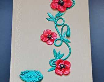 Poppy flower A4 business journal / Elegant poppy flowers in Red or White / MADE TO ORDER/