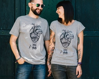 Couples gift set, couple matching t-shirts set, Mr and mrs shirts, anatomical heart, husband gift, steampunk clothing, Bride and Groom gift