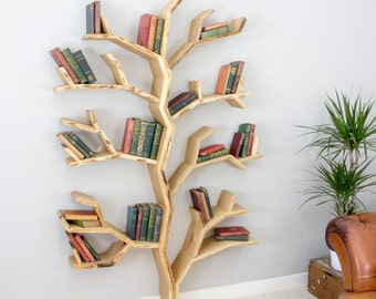 Elm Tree Bookshelf - Compact Tree Shelves Book Shelf Design Handmade in the UK