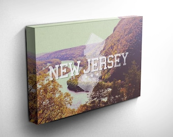 New Jersey Home State Canvas Art Print, Landscape Photography Wall and Home Decor, Birthday Gift Idea - with FREE SHIPPING