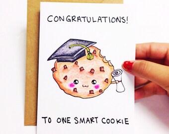 Graduation card funny, Funny graduation card, graduation congratulations card funny, graduation congrats card, smart cookie pun card