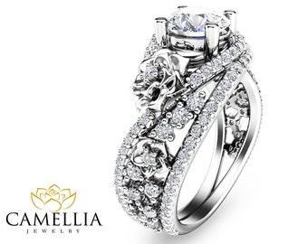 Floral Moissanite Engagement Ring 14K White Gold Engagement Ring Art Nouveau Styled Moissanite Ring
