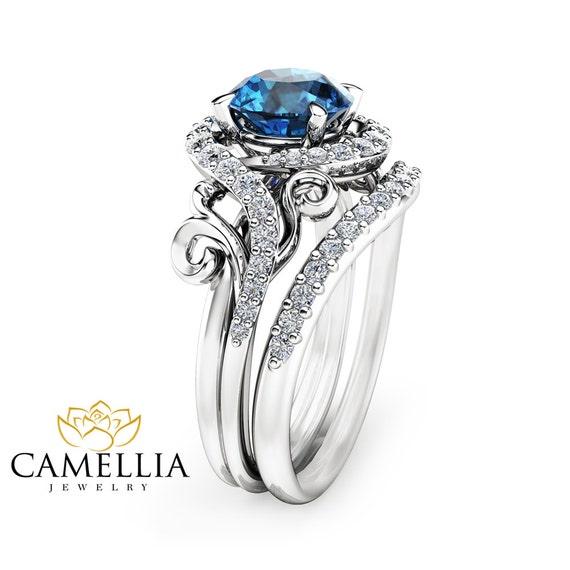 London Blue Topaz Engagement Ring Set Unique 14K White Gold