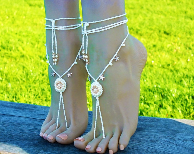 Starfish beaded barefoot sandals/Crochet barefoot sandals/Beach wedding/Bridal Footless shoes/Starfish Barefoot Sandals/bridal foot jewelry