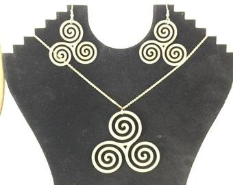 Triple swirl earrings, dangle earrings, jewelry sets, drop down earrings