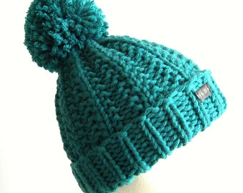 Teal Bobble Hat  Green Blue Pom Pom Hat  Chunky knit hat Wool blend beanie hat Womens or Mens HoBo Handmade hat Extra large pom pom Teal hat