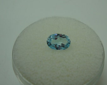 Cambodian Blue Zircon 7 x 5 mm Oval Cut Cambodian Gem Weighs 0.90 Carats-GORGEOUS COLOR & CLARITY-Facet Doubling-December Birthstone
