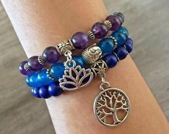 Genuine Healing Bracelets for Inner Strength, Lapis Lazuli, Amethyst, Bracelet Stack, Wrist Mala, Healing Crystals, Healing Stones, Set of 3