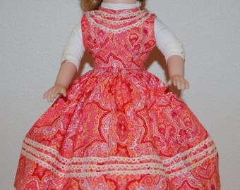 "Vintage Doll Dress, Vintage Doll Clothes, 1940's Handmade Dresses For a 16"" Doll, Paisley Doll Dress, Full Skirted Doll Dress"