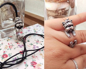 """Yorkshire Terrier Necklace & Ring """"2 in 1"""" Silver, Resizable."""