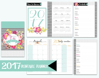 """JUST REDUCED! 2017 8.5""""x11"""" Planner - 2017 Planner - Agenda 2017 - 2017 Daily Planner - 2017 Printable Planner - 2017 Planner Printable"""