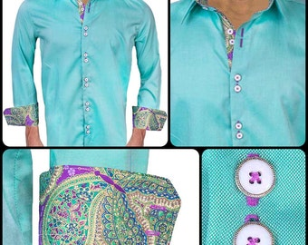 Green with Purple and Gold Designer Dress Shirt - Made in USA