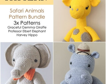 Crochet Amigurumi Elephant, Giraffe and Hippo PATTERNS ONLY Bundle, Special Offer, Stuffed Toy Pattern
