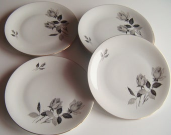 Seltmann Weiden K. Bavaria Grey Rose Porcelain Plates, Set of 6