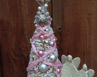 Victorian Style Bottlebrush Tree Tabletop Tree Holiday Display Christmas Tree Pink Christmas Tree Pink Bottle Brush Tree Vintage Christmas