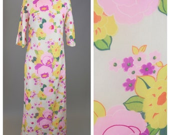 Boho Chic, Vintage 70s, Maxi Dress // 1970s, Floral Pattern, Womens Size Small