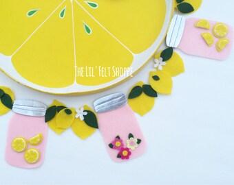 Lemon Banner- Lemonade Stand-  Mason Jar Banner- Lemon Garland- Mason Jar Garland- Lemonade Party- First Birthday- Fruit Banner- Lemons