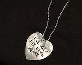 "5 seconds of summer 5sos ""i've got a jet black heart"" stamped heart necklace"