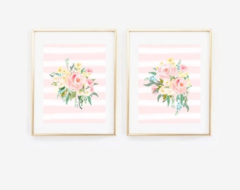 Watercolor Floral Stripes Baby Girl Nursery Art Prints