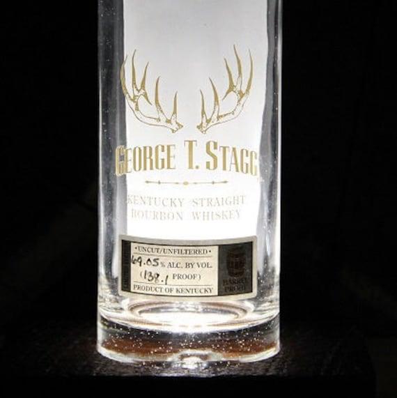 George T. Stagg Bourbon Bottle Light / Reclaimed Wood Base LED Desk Lamp / Handmade Tabletop Lamp / Upcycled Bourbon Bottle Lighting, Custom