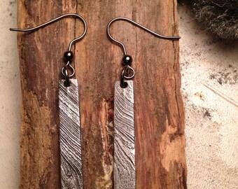 Earrings steel Damascus