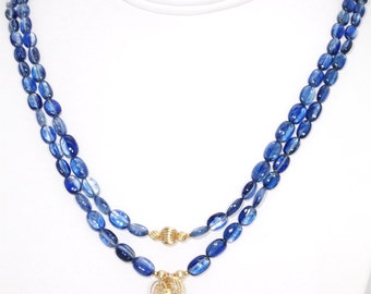 BN064- Two-strand Blue Kyanite and Gold necklace with wire-sculpted Kyanite pendant