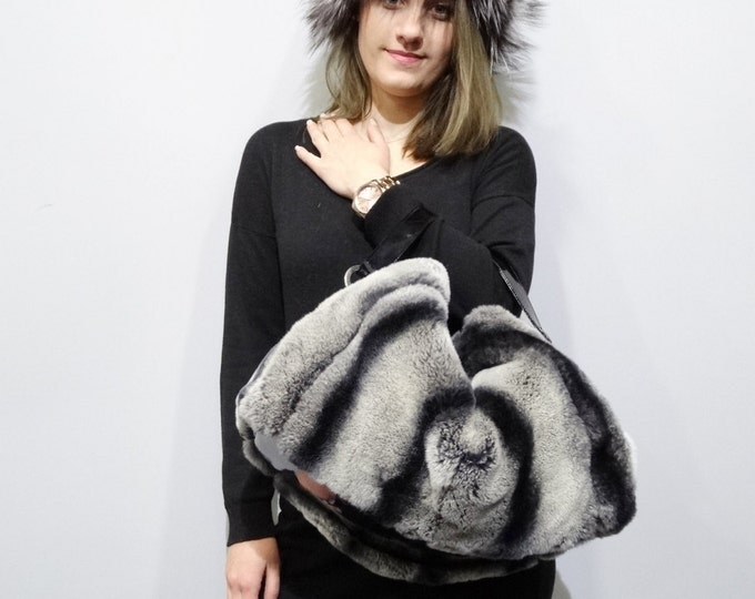 Large tote bag from rex rabbit fur F397