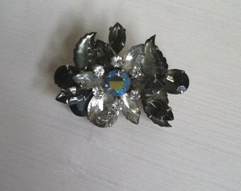 Vintage Smoky, Clear and AB Rhinestone Brooch with Thermoset Accents, Dark and Mysterious!