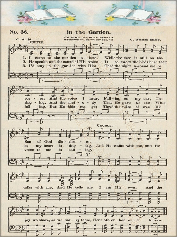 Items Similar To In The Garden Note Cards Or Hymn Print Hymn Art Print Vintage Hymns Sheet