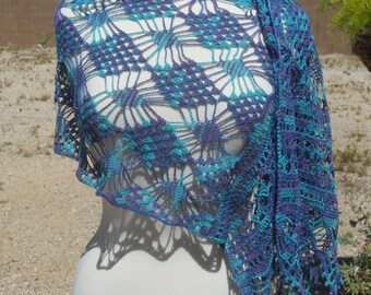 Blue and Purple Variegated Lace Cotton Rectangular Crocheted Wrap with Beads