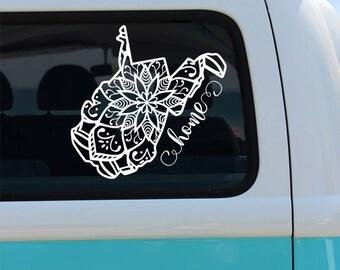 West Virginia State Mandala Vinyl Decal Sticker - Car Decal - Mandala Decal - State Car Decal - West Virginia Mandala - West Virginia Decal