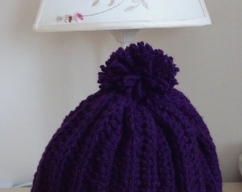 Sale - Reduced in Price. Crocheted Adult's Hat in 'Royal' Purple.  UK Seller!