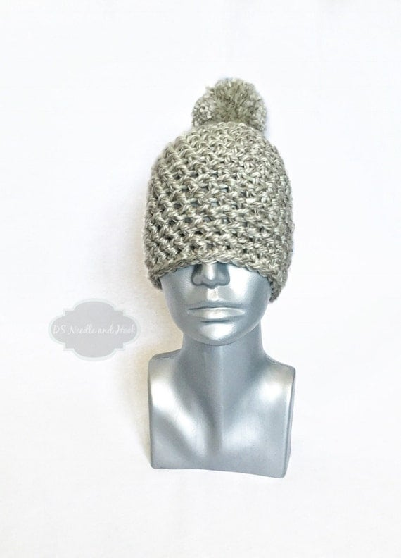 Grey Chunky Beanie with Pom, Silver Grey Crochet Hat, Light Gray Winter Beanie With Puff, Gray Pom Pom Knit Hat, Ski Cap