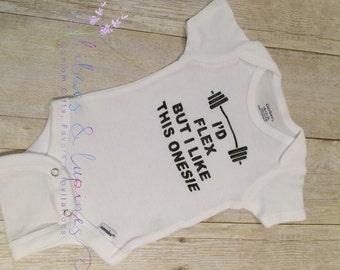 Baby Onesie | Crossfit Onesie | Weightlifting Onesie | Cross Fit | Strong Onesie | I'd Flex But I Like This Onesie