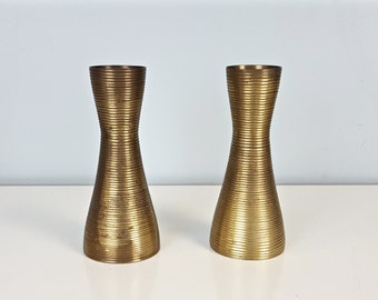 Awesome PAIR Vintage Etched Brass Bud Vases, Indian Brass Vase, Etched Lines  Stripes Brass Bud