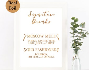 Real Foil Signature Drink Sign