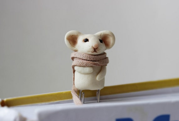 school supplies Mouse bookmark christmas gift ideas Book Miniature cute clay Bookmark Animal Lovers scarf unique bookmarks things Halloween