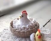 Crochet Chicken with egg Amigurumi chicken Easter decoration Kitchen Table Decoration