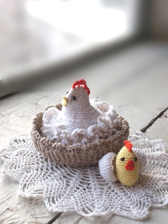 Crochet Chicken with egg Amigurumi chicken by RubberGossamer