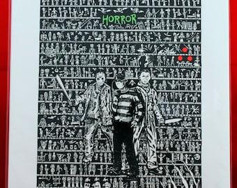 Horror Movies Art, Illustration, horror fan gift, horror art, horror film art, Freddy Krueger, slasher movies, horror poster, scary movie