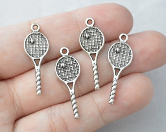 10 Pcs Tennis Charms Sport Charms Antique Silver Tone 2 Sided 10x29mm - YD0305
