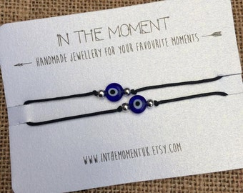 Evil Eye 2 Pack Bracelets/Anklets, Evil Eye Bracelets, Evil Eye Anklets, Adjustable Cord Bracelet, Adjustable Cord Anklet, Evil Eye Bead