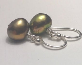 Golden Green Freshwater Pearl and Sterling Silver Earrings, Wire Wrap, Dangle