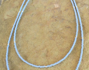 Double strand blue seed bead necklace, layering necklace, sterling silver necklace, delicate necklace, everyday necklace, gift for her